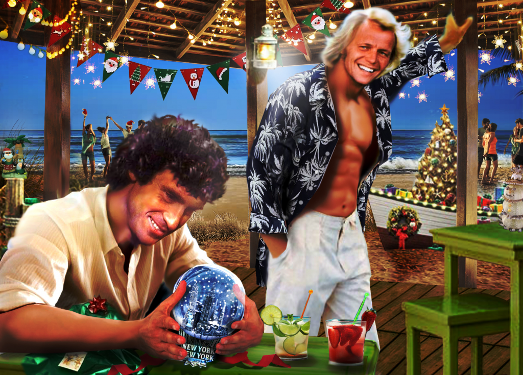 Starsky & Hutch celebrating Christmas at the beach, Starsky is holding a snow globe of New York, Hutch wearing an open Hawaiian shirt